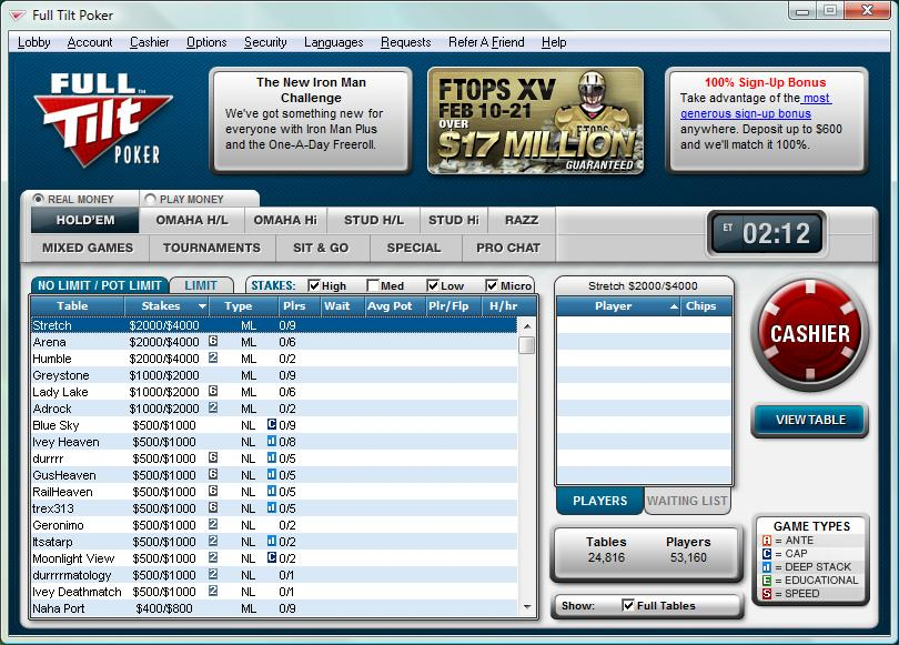 Screenshot Full Tilt Poker