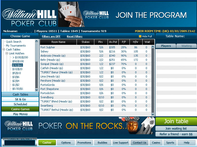 Screenshot William Hill Poker lobby