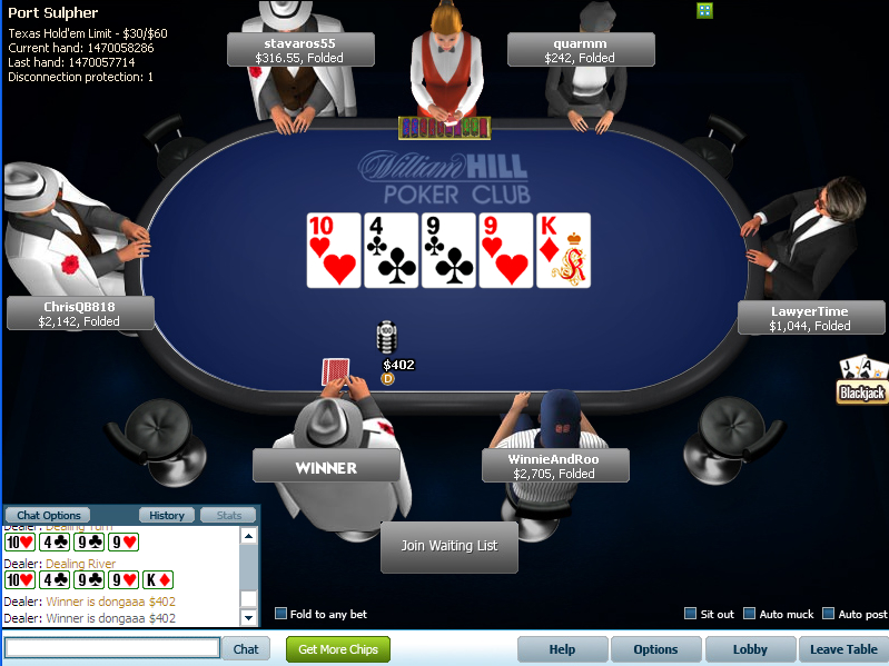 Screenshot William Hill Poker tafel